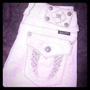 Gently used white Miss Me pants
