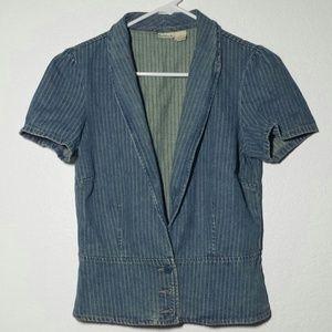 Denim Pinstripe Blazer