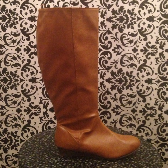 44% off Old Navy Boots - Old Navy Cognac Wide Calf Wedge Boots ...