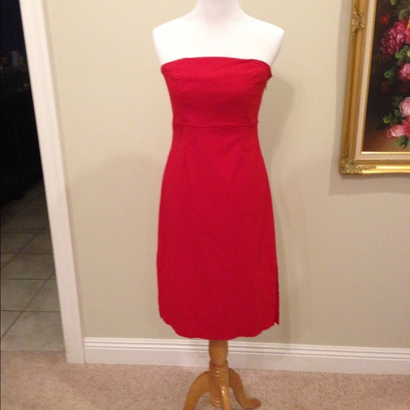 Express red strapless dress. Boning in top.