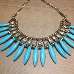 Jewelry - Gold & Blue spike statement necklace