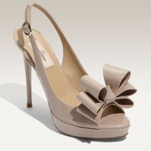 Valentino Shoes - Valentino Peep Toe Pumps in Nude