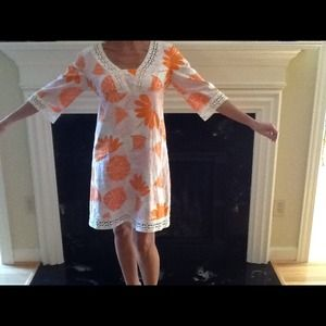 LILLY PULITZER Orange and White Dress Size 2 EUC