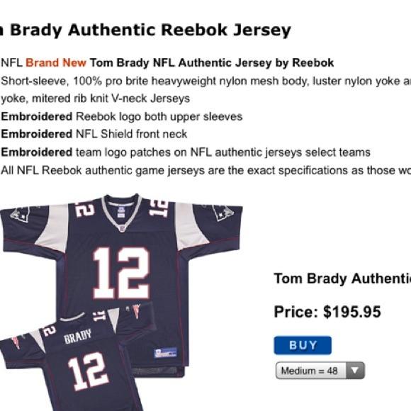 hot sale online 79334 0b54f Tom Brady Authentic Reebok Jersey