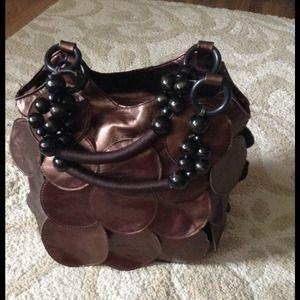 Bronze Coin Bag W/Black Beaded Handles