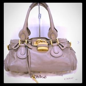AUTH CHLOE PADDINGTON BAG GREY TAUPE GOLD LOCK