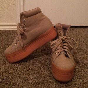 Jeffrey Campbell tan platform sneakers