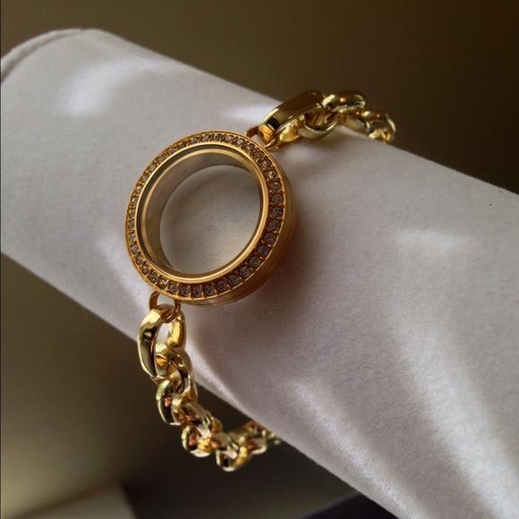 Origami Owl Gold Med Locket Double Link White Crystals Living Locket Bracelet