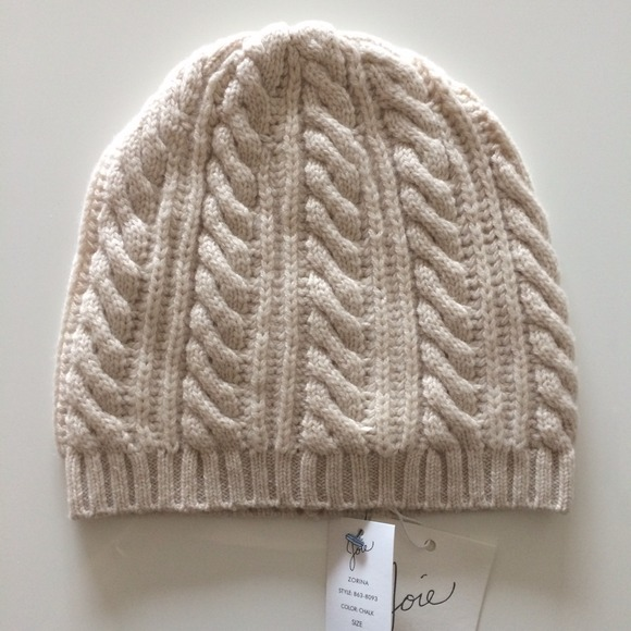 NWT Joie Cream cable knit wool cashmere Zorina Hat e22c3ae057e