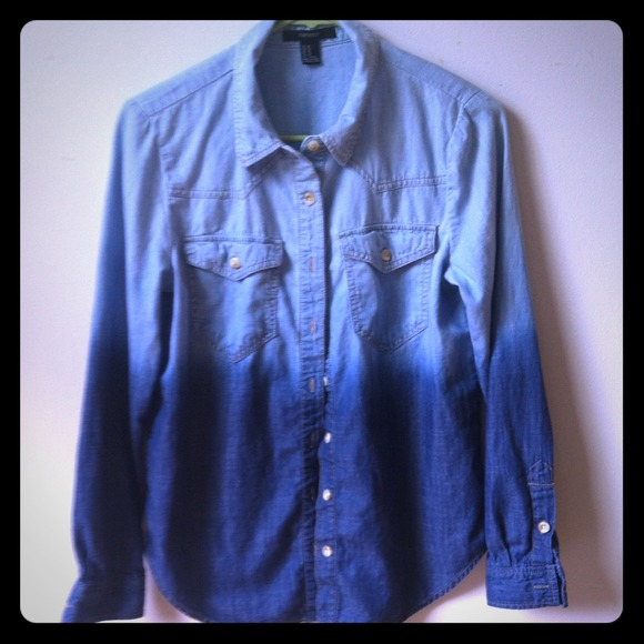 4caaa6a2ac1 Forever 21 Tops - Forever 21 ombre denim long sleeve shirt.