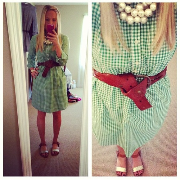 GAP Dresses - Green gingham shirt dress
