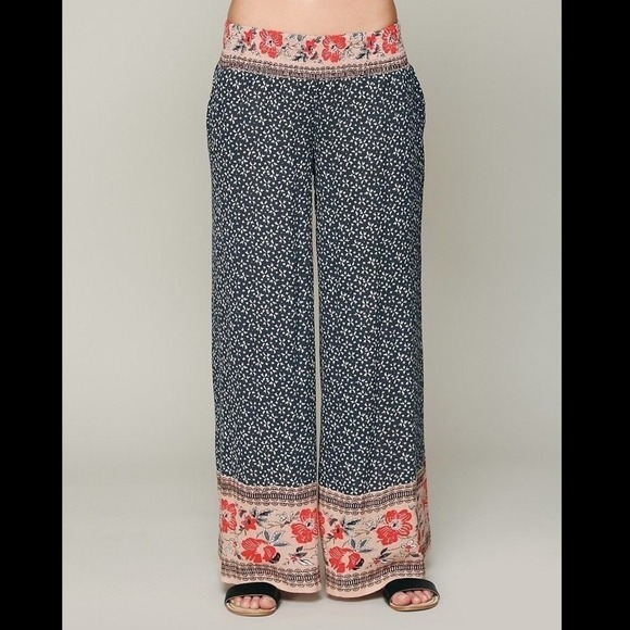 70% off Free People Pants - Free people border print wide leg ...