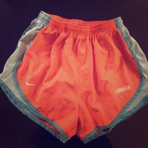 Nike Dri-Fit Tempo Shorts Furman Orange Turquoise