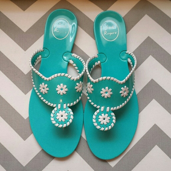 5d344187377 Jack Rogers Shoes - Jack Rogers Blue White Jelly Sandals size 10