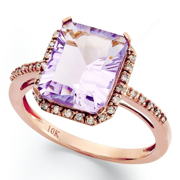off Macy s Jewelry Amethyst diamond and rose gold ring