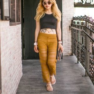Zara Pants - Zara gold crochet pants