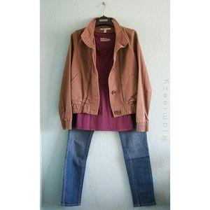 Button Jacket + V-Neck Top + Skinny Jeans