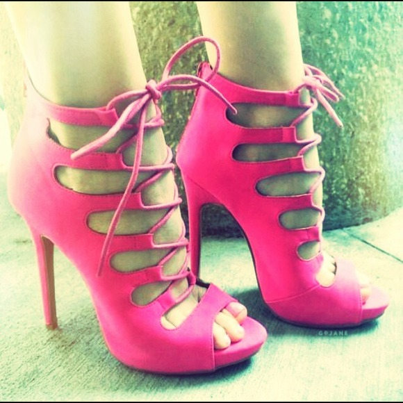 Hot Pink lace up heels 5.5 from Blessed btq&39s closet on Poshmark