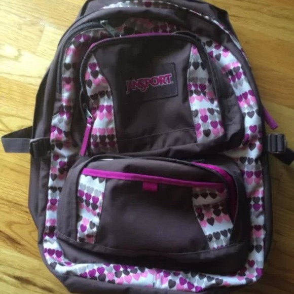 jansport Accessories - Jansport brown and pink heart big student backpack c509927abd