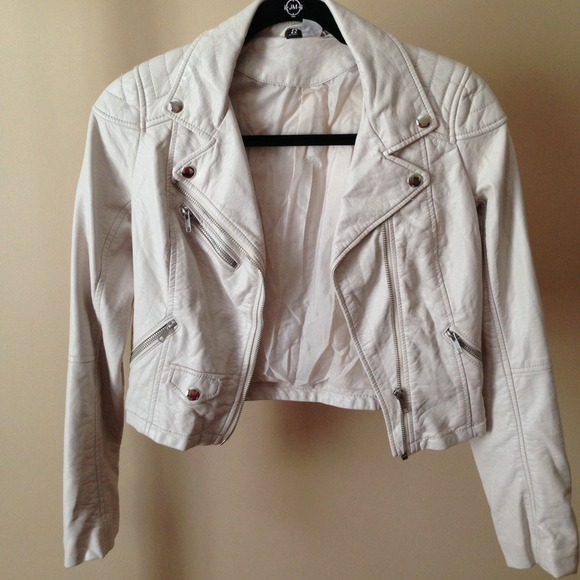 76% off H&M Jackets & Blazers - H&M Faux Leather Jacket (Cream/Off ...