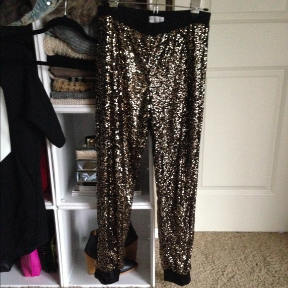 Wayf Pants Host Pick Gold Sequin Track Poshmark