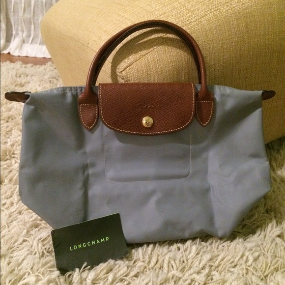 Grey mini longchamp bag