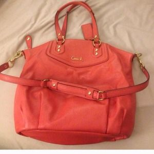 JUST REDUCED Authentic Coral Leather Coach Satchel
