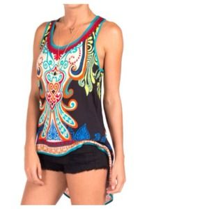 Tops - Black Coral Blue Baroque Hi-Lo Tunic