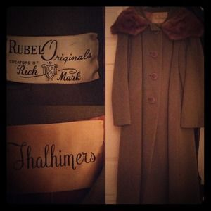 Vintage (60's ish) olive green coat with fur trim