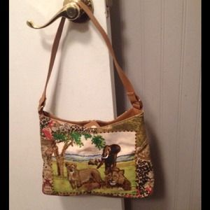 Handbags - Purse with Beaded Animal Print and Animal Scene
