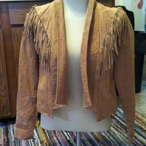 Brand new camel suede fringe cropped jacket size s