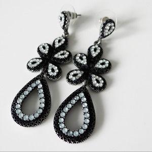 Private Gallery Jewelry - Beaded Gunmetal Teardrop Chandelier Earrings