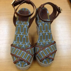 Tory Burch Florian Embroidered Criss-Cross Wedge