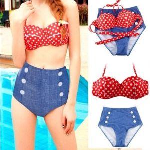 (Large) high waisted denim polka dot bikini
