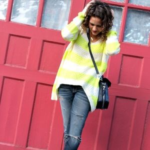 Lush Sweaters - Neon Yellow Striped Sweater