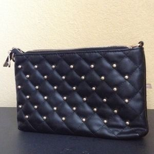 Clutches & Wallets - Black and gold leather clutch bag