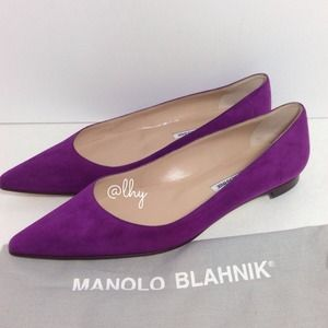 MANOLO BLAHNIK BB SUEDE POINTED TOE FLATS 38.5
