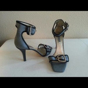 Nine West Shoes - Nine West Blue Leather Black Suede Cameron Heels