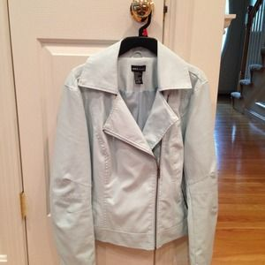 Baby Blue Faux Leather Jacket