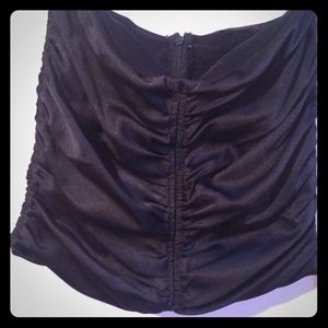 Black Shiny Satin Ruched Mini Skirt
