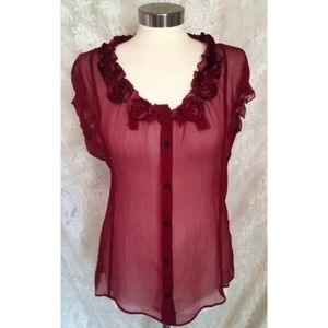 T Tahari 100% Silk Wine Red Blouse