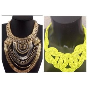 Combo: Tribal & Neon Yellow Knot Necklaces