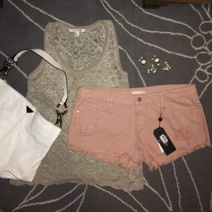 NWT Denim Frayed Shorts