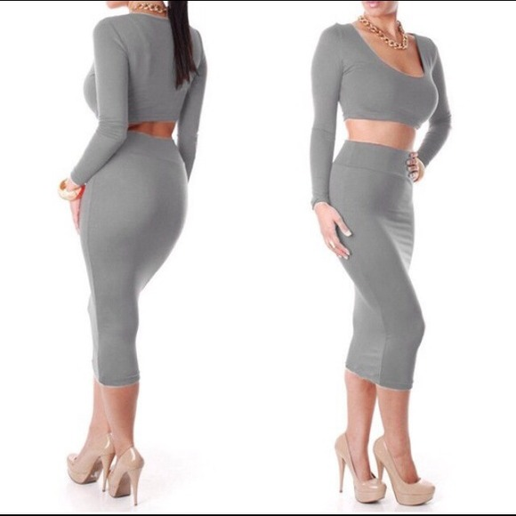 36% off Dresses & Skirts - Sexy Gray Crop Top Pencil Skirt Set ...