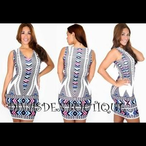 Chevron lines bodycon dress large
