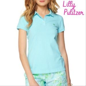 Lilly Pulitzer Short Sleeve Blue Collared Polo Top