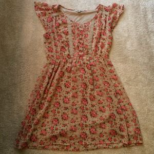 Forever21 floral print dress w/ lace, size L