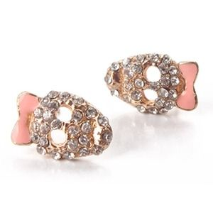 Gold Plated Pink Bowknot Crystal Skull Earrings