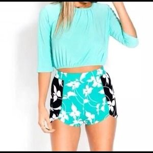 Mint and black shorts
