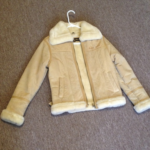 77% off Baby Phat Outerwear - Baby Phat coat Suede Shearling Tan ...